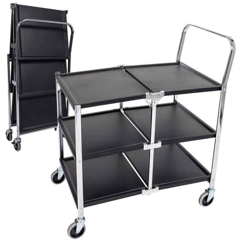 Three-Shelf Collapsible Steel Metal Utility Cart