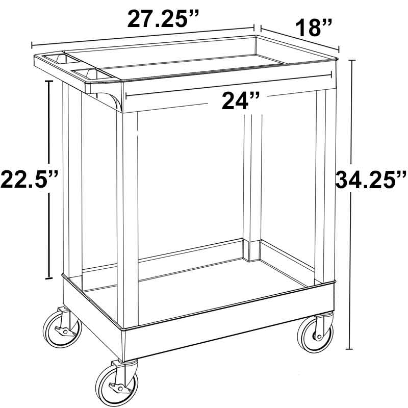 Model SEC11 18x24 Two Tub Utility Cart
