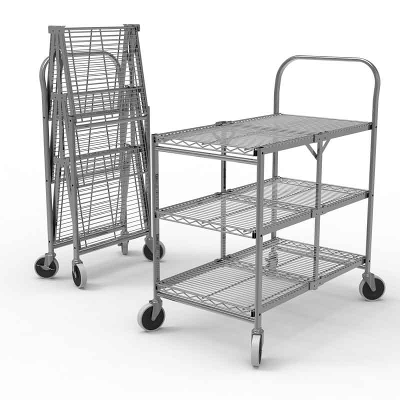 Three Shelf Collapsible Steel Wire Utility Cart
