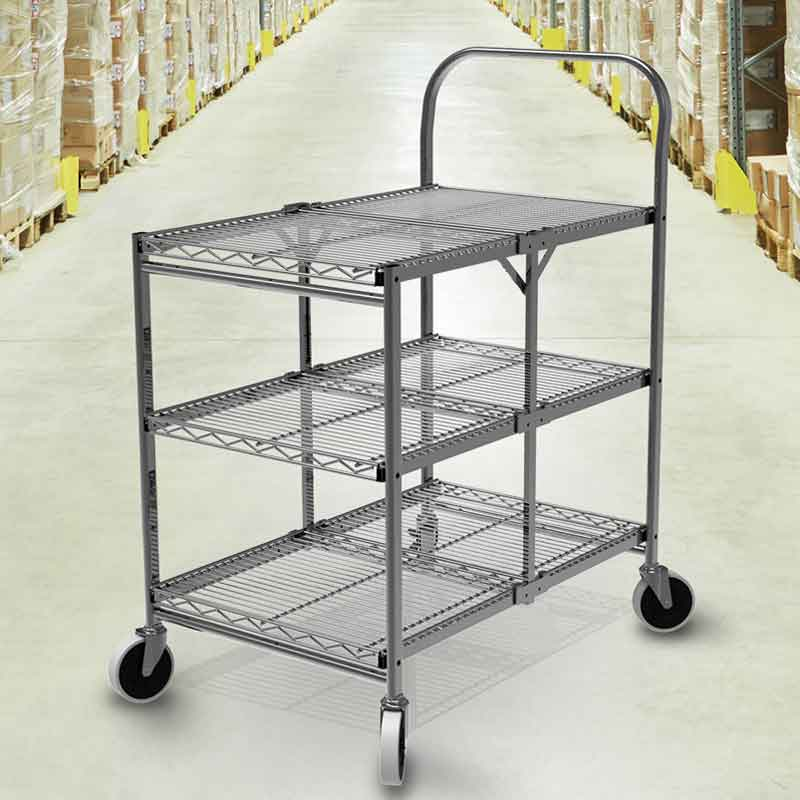Model WSCC-3 Three-Shelf Collapsible Wire Utility Cart