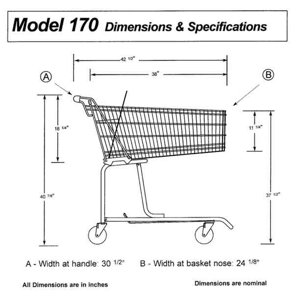 Model Jumbo Wire Shopping Cart Sizing Information