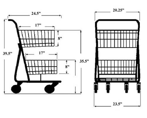 model 075 two basket convenience grocery shopping cart