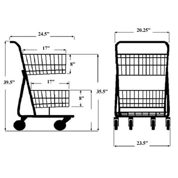 Model 075 Two Basket Convenience Cart Sizing Information