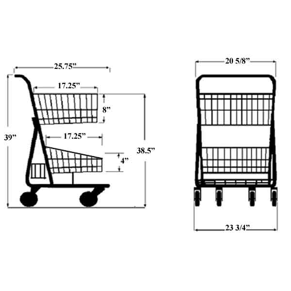 Model 085 Two Basket Express Cart with lower back tray Sizing Information