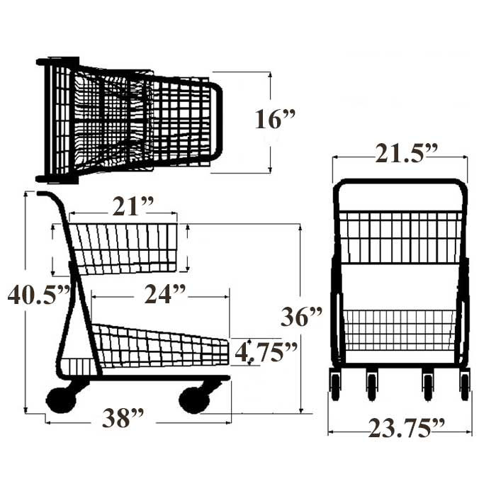 Model 090 Two Basket Large Cart with lower back tray Sizing Information
