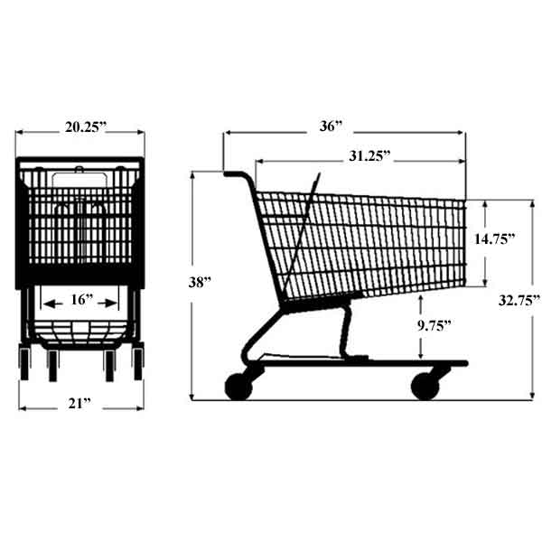 Model 200 Medium Wire Shopping Cart Sizing Information