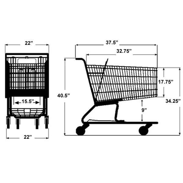 Model 200 Medium large Basket Wire Shopping Cart Sizing Information