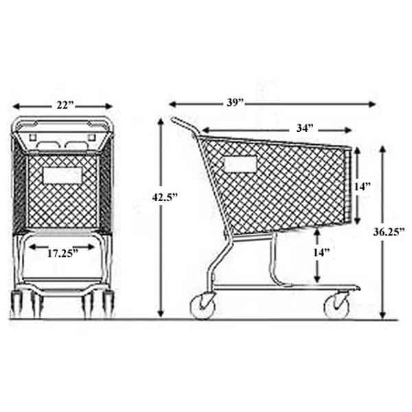 Model 600 Medium Plastic Shopping Cart Sizing Information