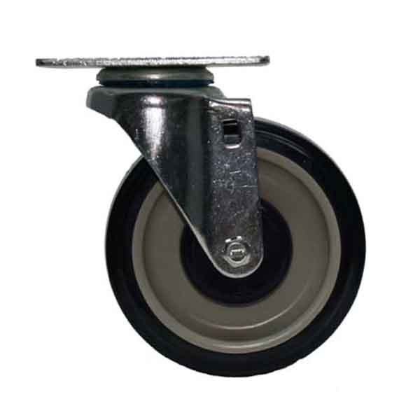 Plate Swivel Caster with 5 Inch Poly Wheel