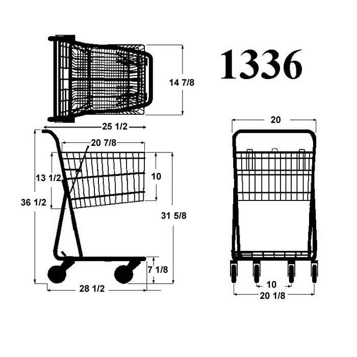 Model 1336 Small Wire Shopping Cart Sizing Information