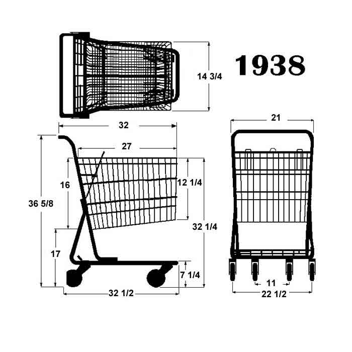 Model 1938 Small Wire Shopping Cart Sizing Information