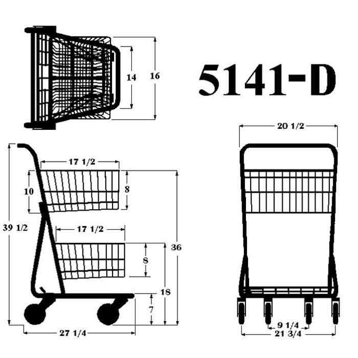 Model 5141D Two Basket Convenience Grocery Shopping Cart Sizing Information