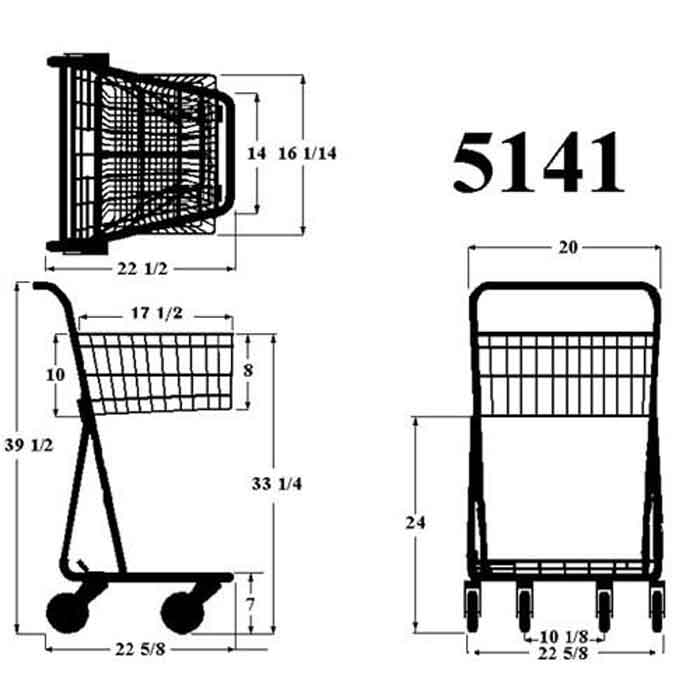 Model 5141 One Basket Convenience Cart Sizing Information