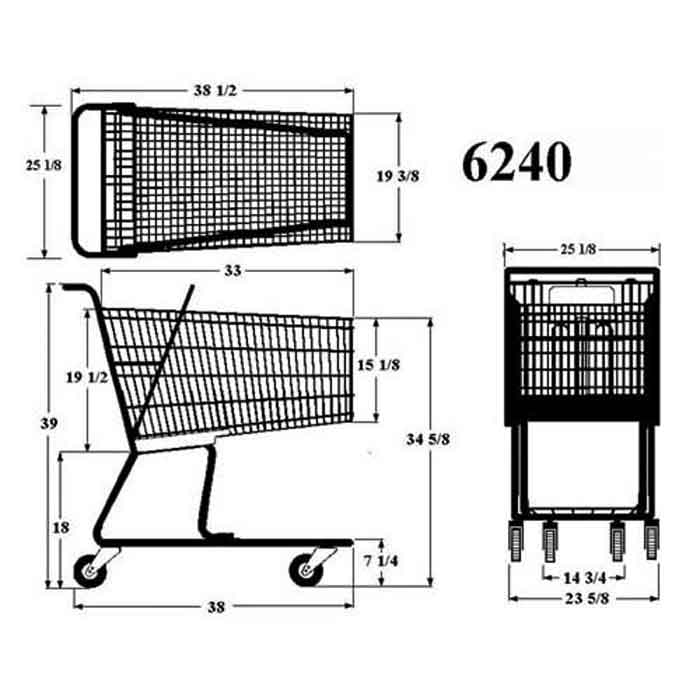 Model 6240 Large Wire Shopping Cart Sizing Information