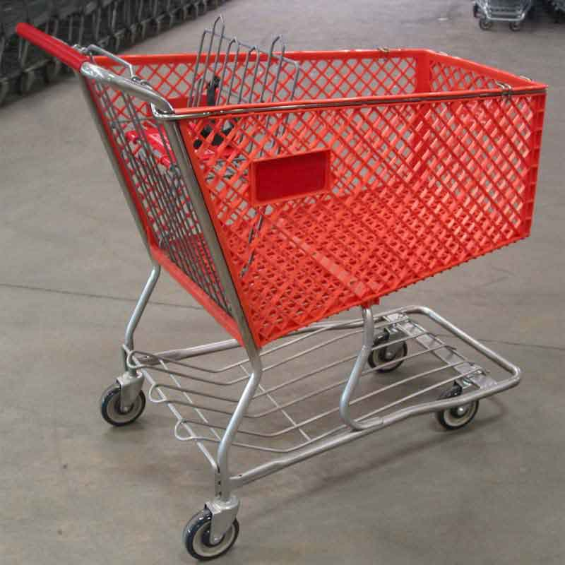 Orange Large Plastic Used Reconditioned Shopping Cart