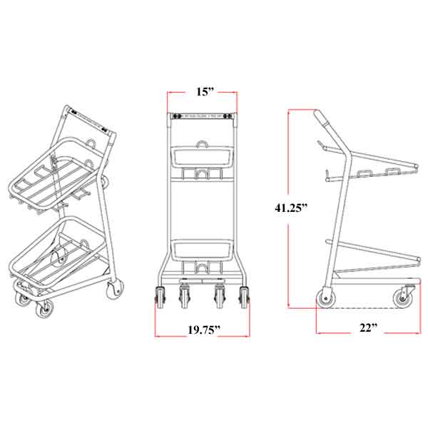 Model 101 EZcart Hand Basket Cart Sizing Information