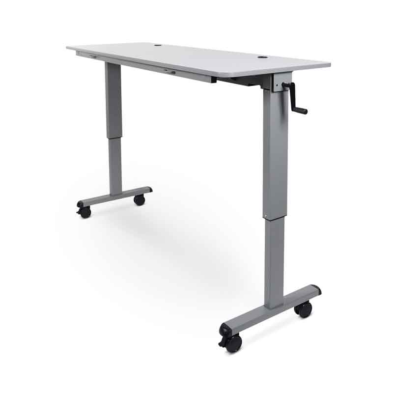 Model STAND-NESTC adjustable flip-top table with crank handle